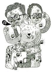 _ (pearpicker.) Tags: hairy illustration pencil glasses drawing ugly bones cubes knives creature mutation pearpicker