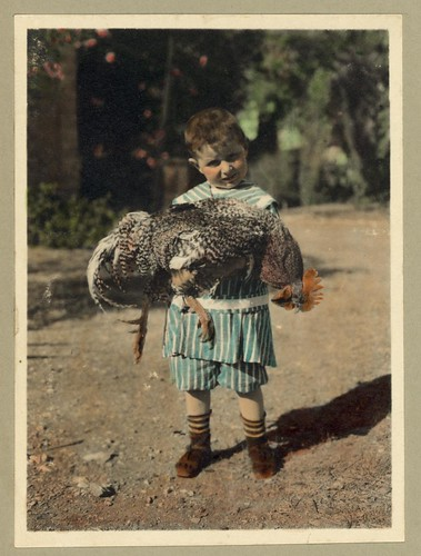 Vintage Portrait Photo Picture of a Child holding a Turkey Bird