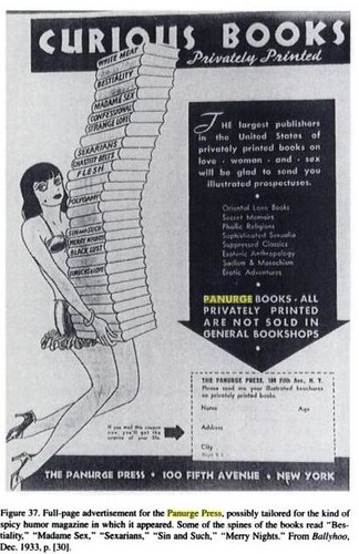 Curious Books by Panurge Press advertisement from the classic work on American erotica Bookleggers and Smuthounds by you.