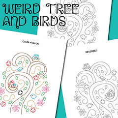 weird tree and birds (revi1001) Tags: tree bird nature birdie forest pattern stitch nest embroidery doodle etsy