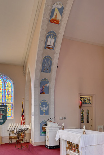 Saint Norbert Roman Catholic Church, in Hardin, Illinois, USA - altar of sacrifice and sanctuary arch