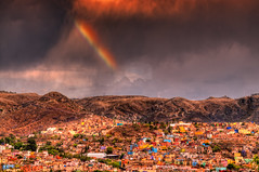 """ Rainbow "" (Alfredo11) Tags: lighting city light sunset sky sun mountains texture textura luz sol colors rain arcoiris clouds landscape mexico atardecer lluvia rainbow edificios bravo colours village pueblo ciudad paisaje colores cielo nubes villa alfredo tones cerros hdr iluminacion treatment montes tratamiento poblado tonos poblacion nikond300 ediffices"