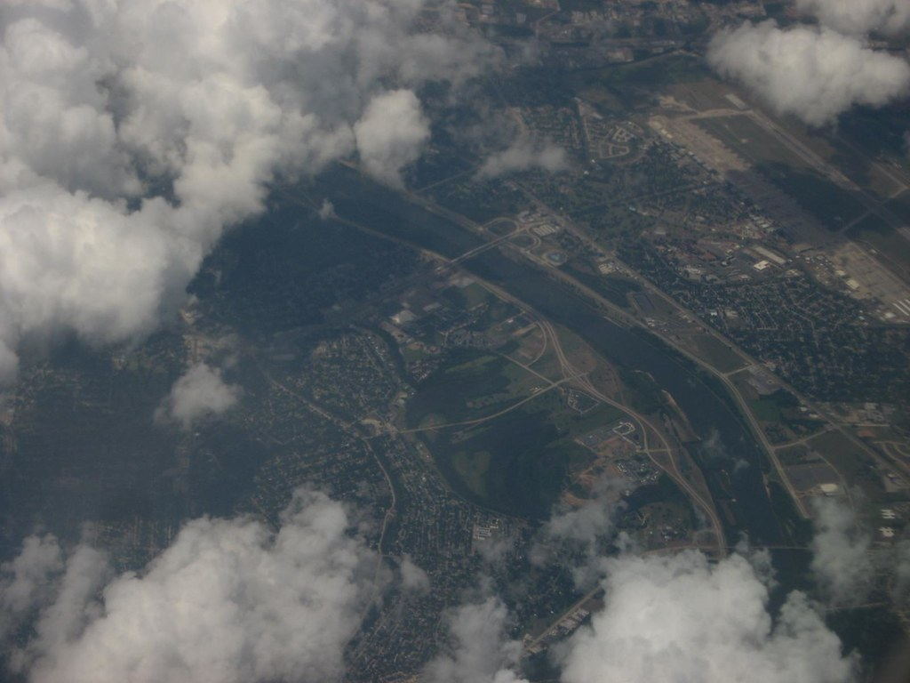 Red River Between Shreveport and Bossier City, Louisiana, with Barksdale Air Force Base in Background