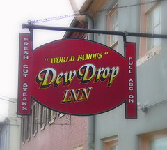 The Dew Drop Inn's sign.