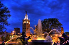 Plaza Fountain (danoStL) Tags: park plaza sky urban horse usa cloud brick water fountain skyline museum clouds america canon eos outdoor mo kansascity missouri countryclub 1855mm kc dslr hdr highdynamicrange xsi 450d