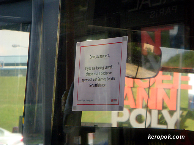 SMRT Bus notice: If you are sick go see a doctor. lol..