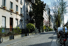 Paris, France, Street Scene, Cobbled Stone Street in Area of 12th district, Villa du Bel Air