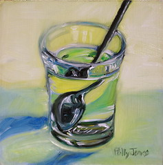 Misdirection (PollyPainting) Tags: water glass painting spoon refraction oil