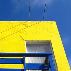 Fantasy in Yellow and Blue ~;-D (Dominique Guillochon) Tags: california blue usa house abstract art beach colors yellow clouds unitedstates sandiego couleurs balcony bluesky beachlife pb pacificbeach californiacoast colorphotoaward platinumheartaward yellowandbluehouse