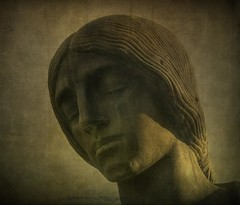 Woman of Stone (jssteak) Tags: woman grave statue stone vintage grunge marker fairmount saddness textured layered