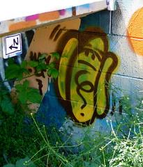 SN und Wall Dawg (liquidnight) Tags: seattle streetart graffiti hotdog stickers wiener sodo sn walldog legalwall ephemeralart freewall slightlynorth