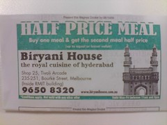 Half Price Meal voucher - Biryani House