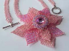 The Blushing Bride (fivefootfury) Tags: necklace jewelry pinkflower bridesmaid beaded beadwork lightpink blushingbride pinkandpurple beadedflower ebwc pewtertoggle ebwteam pinkbeadedflower