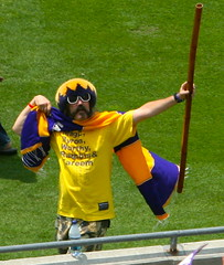 Superhero retro laker fan (kjdrill) Tags: california city usa sports basketball losangeles championship parade celebration title nba lakers 5655