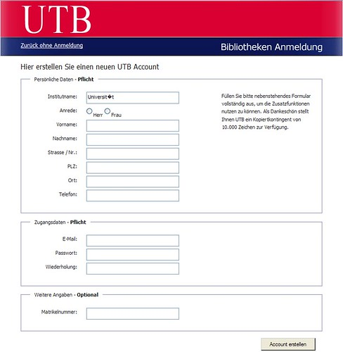 Anmeldeformular UTB E-Books
