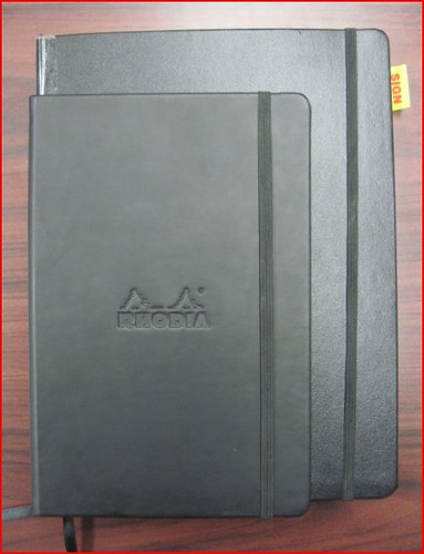 Size comparison - Rhodia Large Webbie vs. Extra Large Piccadilly