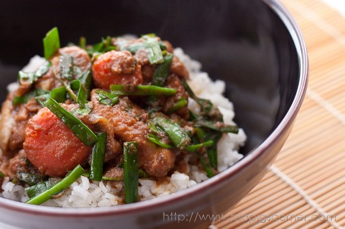 Shacha Chicken with Garlic Chives