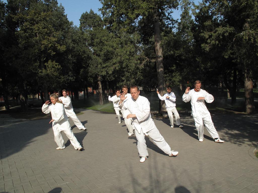 Taiji morning practice in Jingshan Park, Beijing