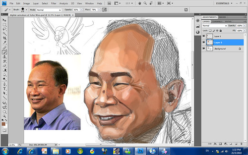 digital sketch of John Woo - 4