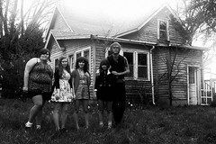 adventure crew group portrait (messyowl) Tags: blackandwhite bw white house black lauren abandoned illinois shane ash cari chelsey