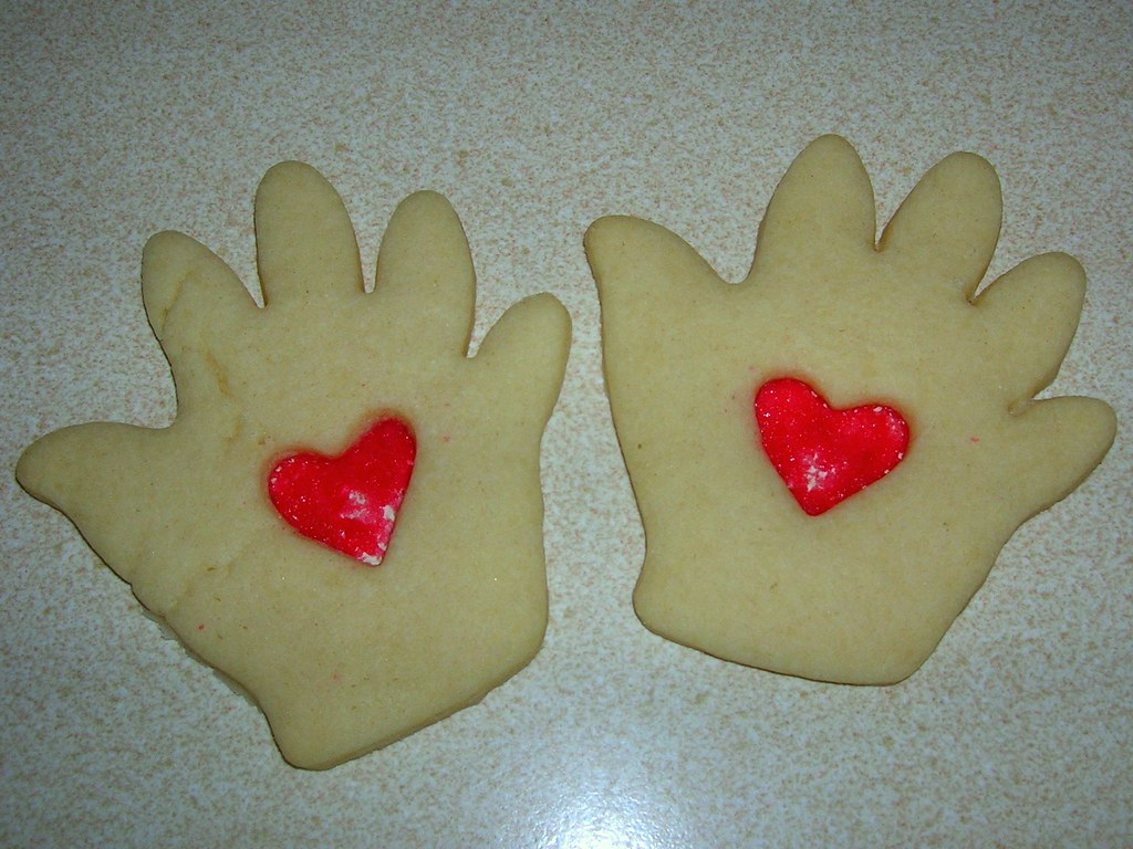 Hand in heart cookies