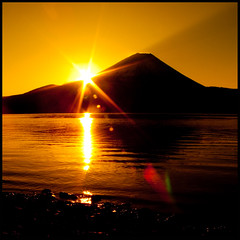 Flare (TheJbot) Tags: morning orange mountain lake japan sunrise fuji jbot motosu thejbot 2009challenge 2009challenge249