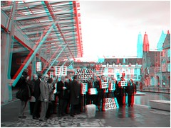 Save our forests 3 (anaglyph) (Dan (aka firrs)) Tags: scotland stereoscopic 3d forestry politics protest anaglyph stereo libdems redcyan