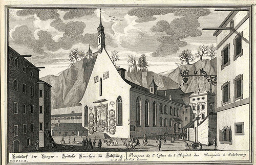 Prospect de l'Eglise de l'Hopital des Burgeois a Salsbourg (Salzburg Univ.) Danreiter 1735