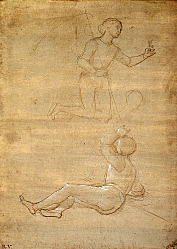 1502  Raphael    An Angel and a guard for the Resurrection  heightened in lead white on grey prepared paper  32,7x23,6 cm  otam