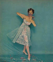 Flowers In The Air (The Pie Shops Collection) Tags: blue woman fashion vintage ads advertising dress gown 1959 vanityfair nightie