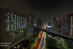 Tennozu Isle Night View overlooking the expressway (Ken.Lam) Tags: bridge light train lights mono cityscape nightscape traffic illuminations rail   bullet expressway streaks dori  shinkansen hdr kaigan