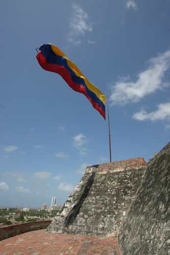 Bandera colombiana at the Castillo de San Felipe, Cartagena.