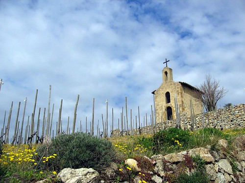 Church at the top of the Tain lHermitage vineyards.