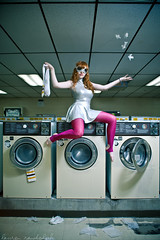 Dirty work. (laurenlemon) Tags: portrait silly art girl fashion socks caitlin photography weird surrealism creative goggles tights dirty series innuendo conceptual laundromat redhair staged striped tissues strobist canoneos5dmarkii laurenrandolph caitlinrandolph laurenlemon