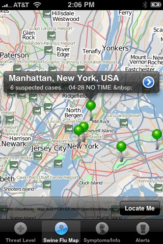 Map of Swine Flu iPhone App