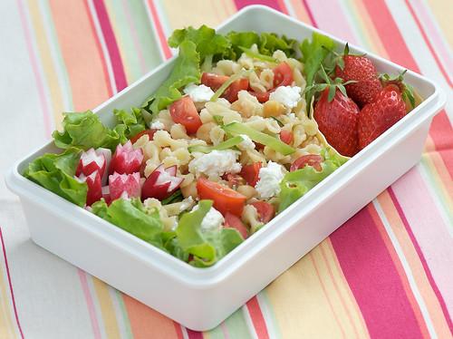 Spring pasta salad bento