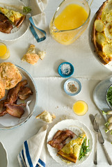 morning banter (mwhammer) Tags: morning blue light food orange white breakfast fun bacon potatoes radishes egg shapes tasty delicious busy repetition garlic casual onion tortilla overhead atthetable saladgreens melinahammer foodandpropstyling