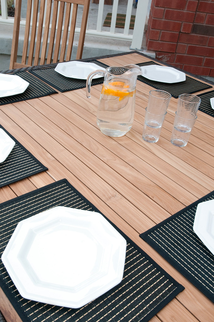Gorgeous Outdoor Teak & Rattan Table