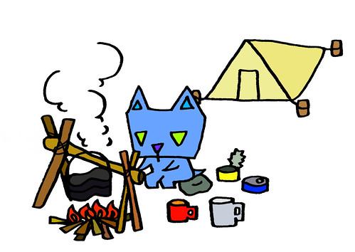 テント生活で飯ごうを炊く、三角うさぎ