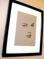 Framed (renée anne //) Tags: 1920s lauren female illustration pencil vintage drawing minimal negativespace cardboard etsy bacall lafemme femmefatal art4friends