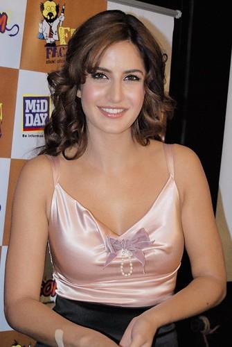 Katrina Kaif poses wearing satin top revealing cleavage