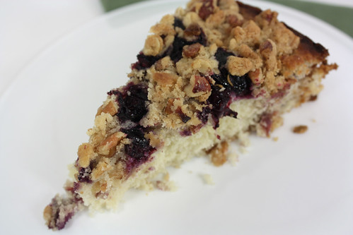Top Slice Blueberry Rhubarb Buckle Cake