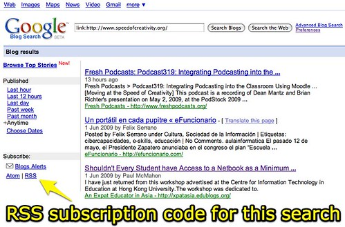 RSS subscription code for a Google Blog Search