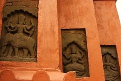 Statuettes of Hindu Goddesses on the walls of Devi (Goddess Durga) Dol, another temple located next to the Siva Dol. (Rubi Borgohain) Tags: temple assam northeast historicindia sivasagar northeastindia indiatemples sivadol