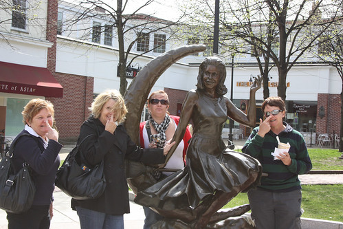 Sue, Lynne, Fiona, Samantha and Pauline. It's the Bewitched Statue
