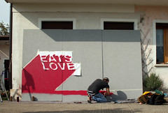 Eats Love 6 (SHORTLY STENCIL) Tags: bear street wood italy art love monster graffiti stencil montana heart stickers eats cutter mostro treviso shortly orso legno colla adesivi monatana pannelli motlo