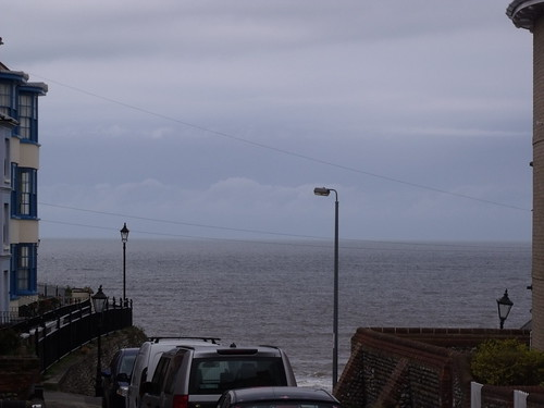 A view of the sea down The Gangway in Cromer