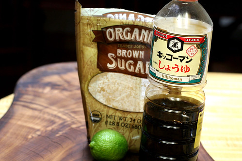 soy sauce, lime, brown sugar