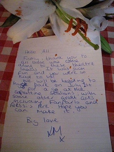 Laura Marling letter (photo from her facebook page).