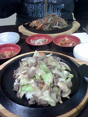 Bulgogi Donburi (front) & Japche (back) (natmeister) Tags: food korean kimchi sushigallery potatonoodles japche bulgogidonburi